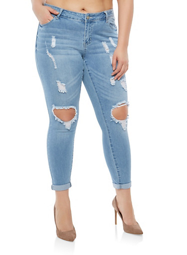 Plus WAX Distressed Whisker Wash Jeans,LIGHT WASH,large