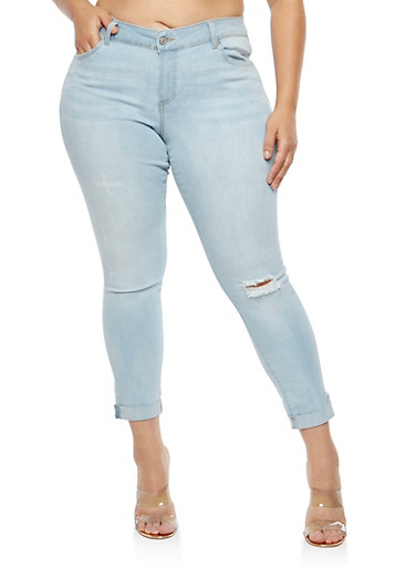 Plus Size WAX Distressed Rolled Cuff Jeans,LIGHT WASH,large