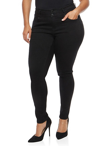 Plus Size WAX 2 Button Push Up Jeans,BLACK,large