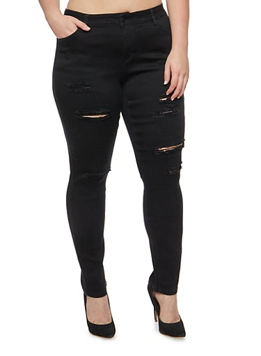 Plus Size WAX Frayed Skinny Jeans,BLACK,large