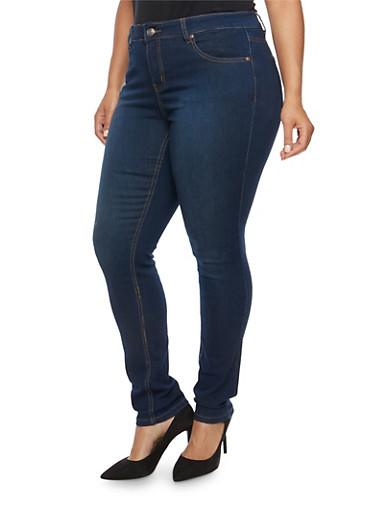 Plus Size WAX Basic Skinny Jeans,DARK WASH,large