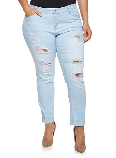 Plus Size Wax Distressed Jeans,LIGHT WASH,large