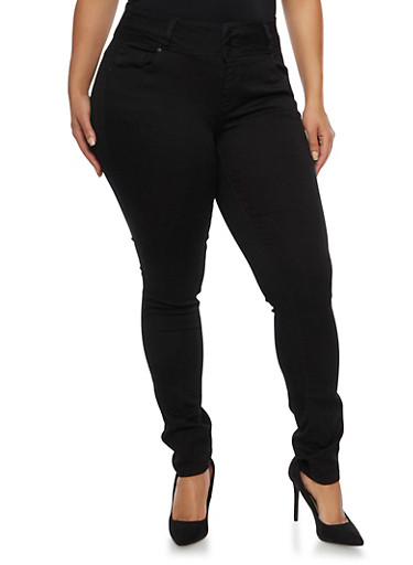 Plus Size WAX High Waist Skinny Jeans,BLACK,large