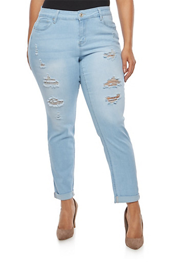 Plus Size WAX Push Up Distressed Jeans,LIGHT WASH,large