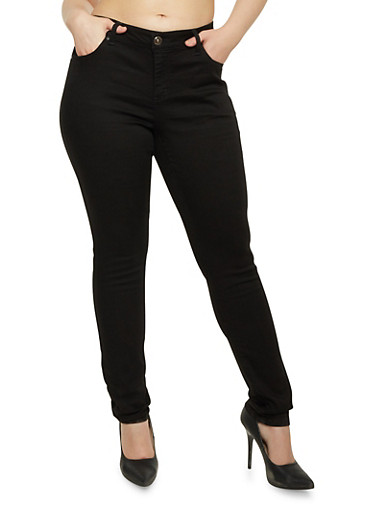 Plus Size WAX Skinny Jeans,BLACK,large