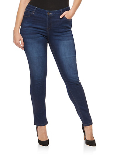 Plus Size WAX Skinny Jeans,DARK WASH,large