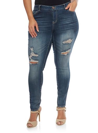 Plus Size WAX Distressed Skinny Jeans,DARK WASH,large