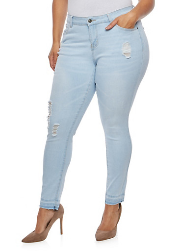 Plus Size WAX Distressed Whisker Wash Jeans,LIGHT WASH,large