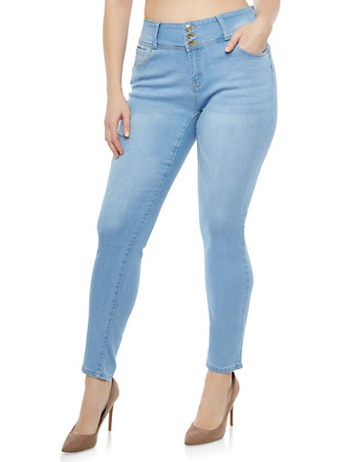 Plus Size WAX Whisker Wash Skinny Push Up Jeans,LIGHT WASH,large