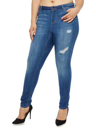 Plus Size WAX Distressed Skinny Jeans,MEDIUM WASH,large
