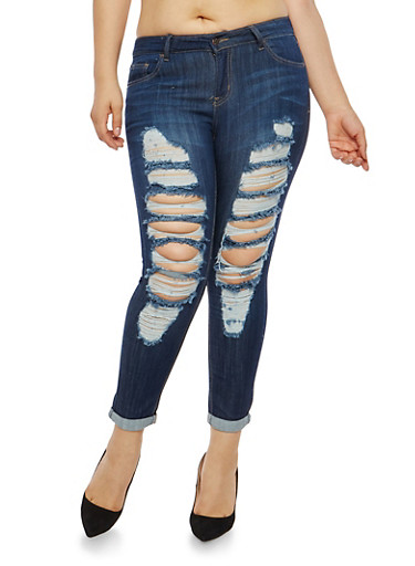 Plus Size WAX Destroyed Cuffed Skinny Jeans,DARK WASH,large