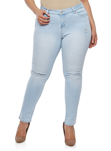 Plus Size WAX Ripped Push Up Jeans,LIGHT WASH,large