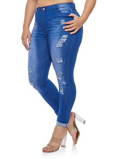 Plus Size Destruction Skinny Jeans,BLUE,large