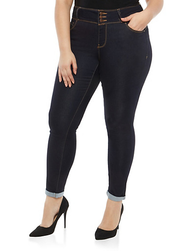 Plus Size WAX 3 Button Push Up Jeans,POTASSIUM,large