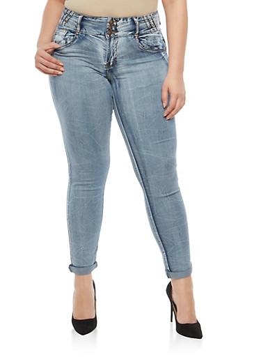 Plus Size 3 Button High Waisted Jeans,POTASSIUM,large