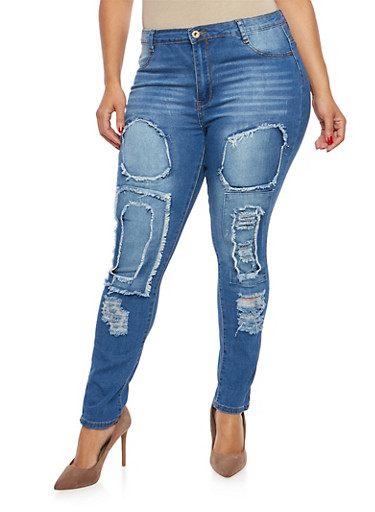 Plus Size Patch and Repair Skinny Jeans,MEDIUM WASH,large