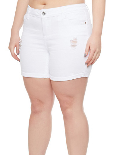 Plus Size Almost Famous Bleach Wash Shorts with Rips,WHITE,large
