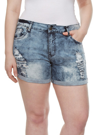 Plus Size VIP Jeans Acid-Washed Distressed Jean Shorts With Rolled Cuffs,LIGHT WASH,large