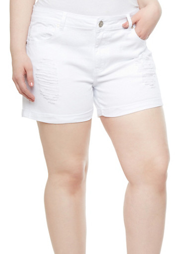 Plus Size VIP Solid Jean Shorts With Holes,WHITE,large
