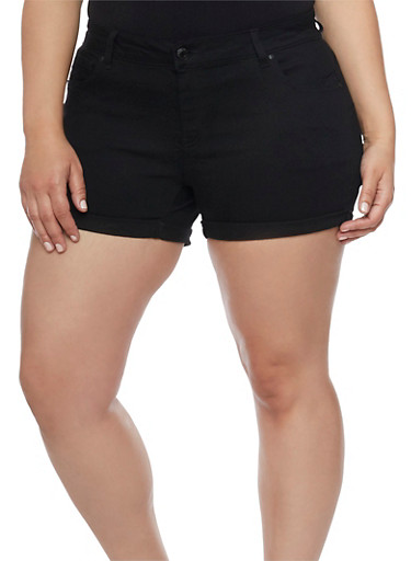 Plus Size Wax Push Up Denim Shorts,BLACK,large