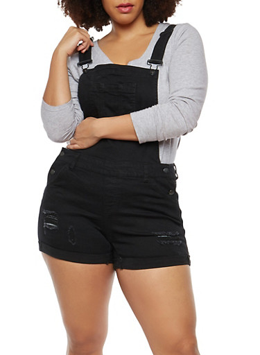 Plus Size WAX Denim Shortalls,BLACK,large