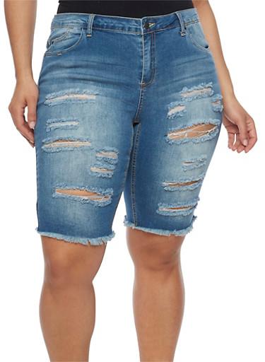 Plus Size Almost Famous Slashed Denim Bermuda Shorts,MEDIUM WASH,large