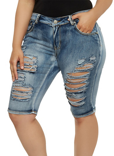 Plus Size Destroyed Denim Bermuda Shorts,MEDIUM WASH,large
