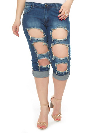 Plus-Size Ripped Denim Capris - Rainbow