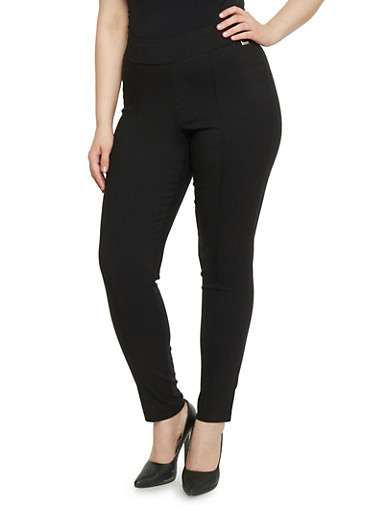 Plus Size Pull On Stretch Knit Pants,BLACK,large
