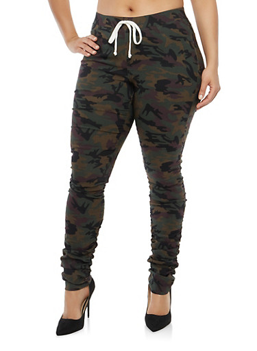 Plus Size Ruched Camo Joggers,OLIVE,large