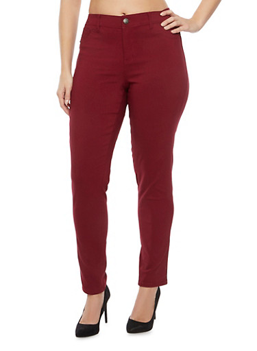 Plus Size Five Pocket Skinny Pants,BURGUNDY,large