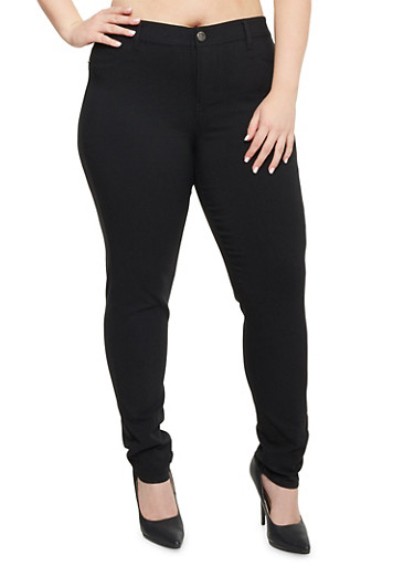 Plus Size High Waisted Pants in Stretch Denim,BLACK,large