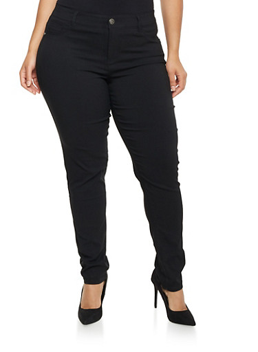 Plus Size Stretch Denim Pants,BLACK,large