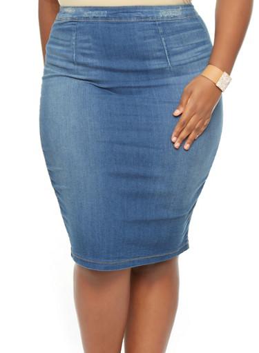 Plus Size Denim Pencil Skirt - Rainbow
