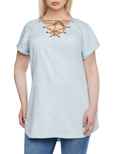 Plus Size Denim Tunic Top with Lace-Up Neckline,LIGHT WASH,large