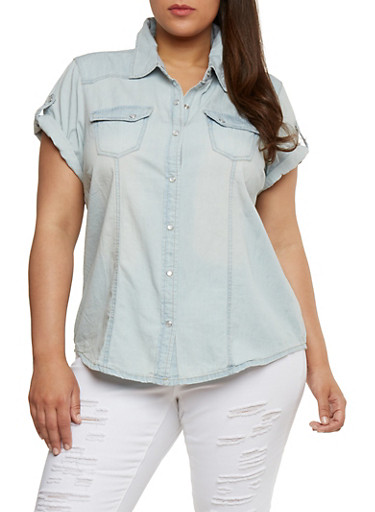 Plus Size Tabbed Short Sleeve Denim Shirt,LIGHT WASH,large