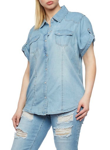 Plus Size Tabbed Short Sleeve Denim Shirt,MEDIUM WASH,large