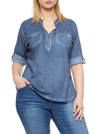 Plus Size Knit Denim Rolled Cuff Shirt with Zipper V Neck,MEDIUM WASH,large