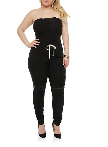 Plus Size Strapless Ruched Leg Jumpsuit,BLACK,large