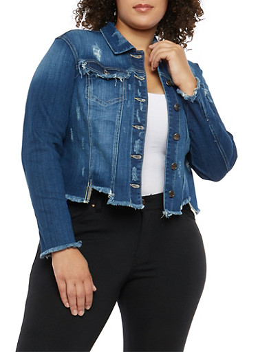 Plus Size Cello Frayed Crop Jean Jacket,DARK WASH,large