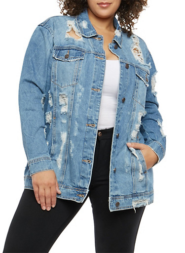 Plus Size Cello Oversized Destroyed Denim Jacket,MEDIUM WASH,large