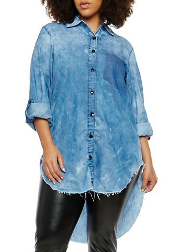 Plus Size High Low Chambray Shirt,MEDIUM CLOUD,large