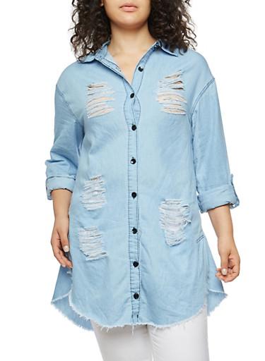Plus Size Distressed Denim Tunic Top,MEDIUM WASH,large