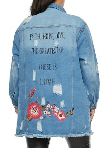 Plus Size Distressed Embroidered Denim Jacket,MEDIUM BLUE,large