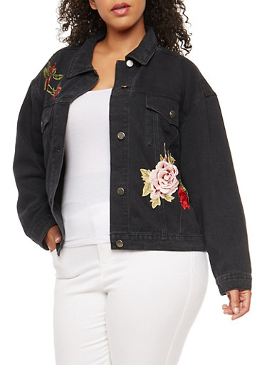 Plus Size Embroidered Patch Denim Jacket,BLACK,large
