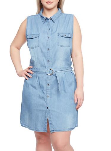 Plus Size Sleeveless Denim Dress with D Ring Belt,LIGHT WASH,large