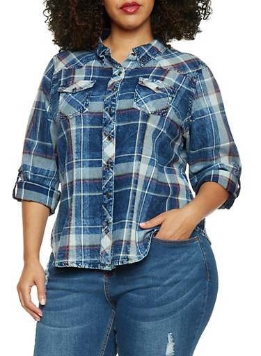 Plus Size Highway Jeans Plaid Denim Button Up Shirt,BLUE DENIM,large