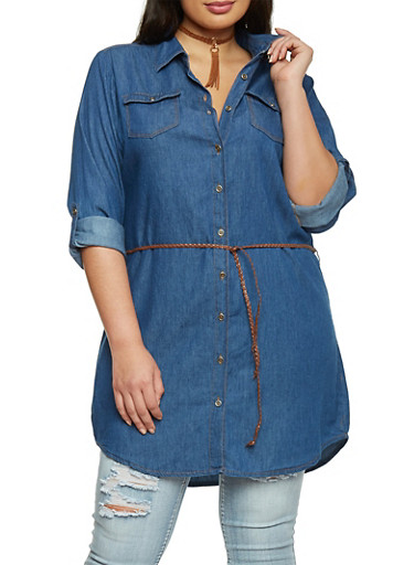 Plus Size Highway Jeans Denim Belted Tunic Top,DARK WASH,large