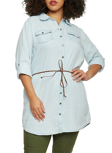 Plus Size Highway Jeans Belted Denim Tunic,LIGHT WASH,large
