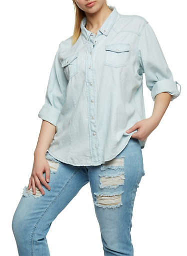 Plus Size Button Front Denim Shirt,BLEACH,large